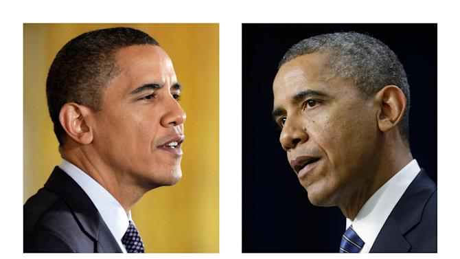 FILE - These file photos, Oct. 7, 2009, left, and Nov. 28, 2012, right, shows President Barack Obama speaking in Washington. Four years after he was the fifth-youngest president to take the oath of office, Barack Obama now is 51, his hair more gray, his face more lined. The changes aren't all physical: As he enters Term Two, he is sounding more confident, vowing a harder line on negotiations, relying more on trusted allies, promising less, expressing more cynicism about the grip of partisanship on Washington. And perhaps most important, he seems more convinced of a need to keep the public with him, coming full circle to his people-driven 2008 campaign. (AP Photo, File)