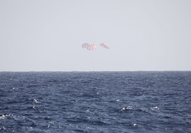 Handout of the SpaceX Dragon landing into the Pacific Ocean