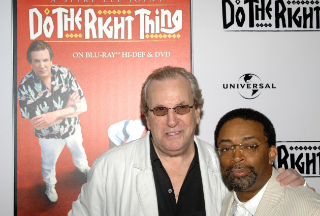 "FILE - In this Monday, June 29, 2009, file photo, director Spike Lee, right, and actor Danny Aiello attend a special 20th anniversary screening of ""Do the Right Thing,"" in New York. (AP Photo/Peter Kramer, File)"