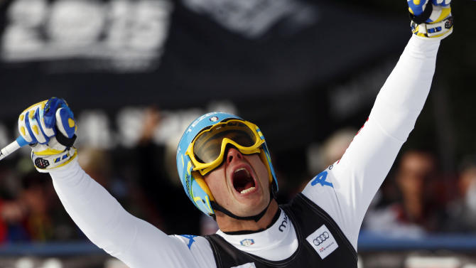 Italy's Christof Innerhofer reacts in the finish area after his run at the men's World Cup downhill ski race in Beaver Creek, Colo., on Friday, Nov. 30, 2012.  (AP Photo/Alessandro Trovati)
