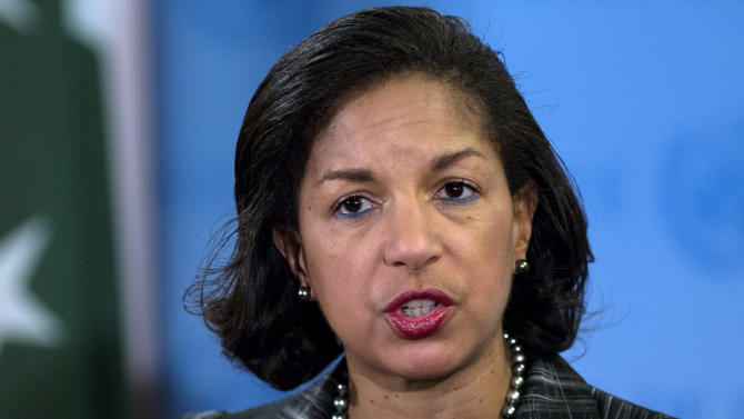 U.S. Ambassador Susan Rice speaks at a news conference after the U.N. Security Council held an emergency meeting on North Korea's nuclear test on Tuesday morning at U.N. headquarters, Tuesday Feb. 12, 2013. (AP Photo/Craig Ruttle)