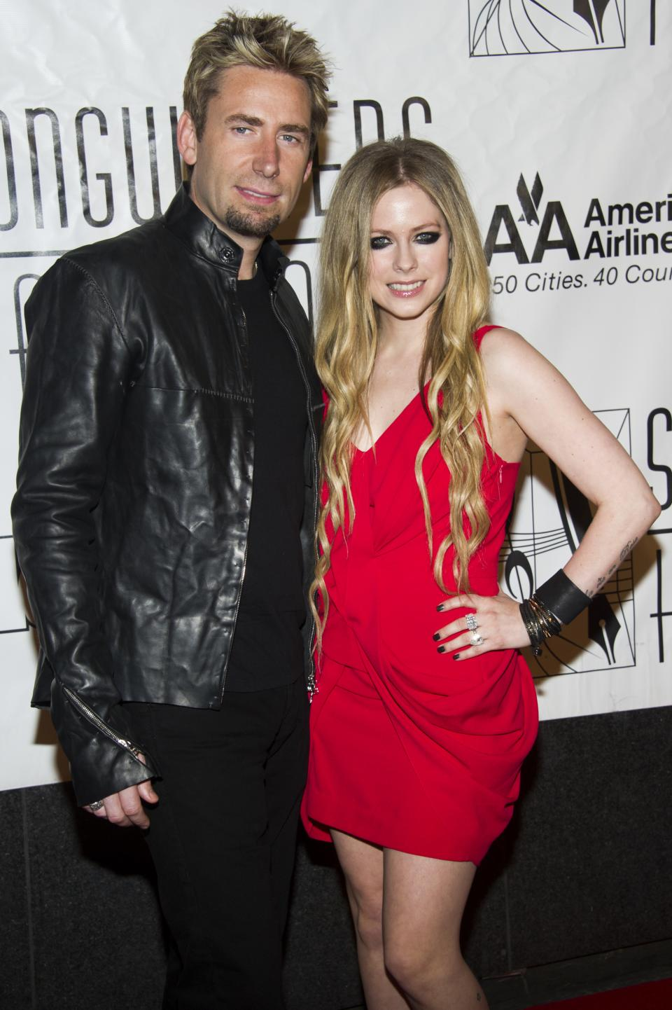 Chad Kroeger, left, and Avril Lavigne attend the Songwriters Hall of Fame 44th annual induction and awards gala on Thursday, June 13, 2013 in New York. (Photo by Charles Sykes/Invision/AP)
