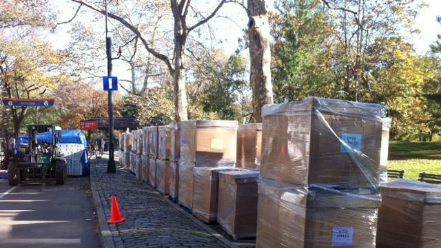 Pallets of food are lined up near what would have been the finish line for the 2012 New York Marathon, Saturday, Nov. 3, 2012 in New York's Central Park. The food was intended for the marathon participants after they finished the race. NYC Mayor Michael Bloomberg canceled the marathon on Friday, Nov. 2, amid rising criticism for planning to go ahead with the race less than a week after much of New York City was damaged by Superstorm Sandy. (AP Photo/Cara Ana)