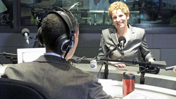 Incoming Ontario premier Kathleen Wynne speaks with Metro Morning host Matt Galloway on Monday.