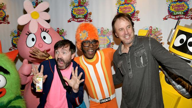 From left, Yo Gabba Gabba! Co-Creator Scott Schultz, DJ Lance Rock and Kevin Nealon attend Yo Gabba Gabba! Live!: Get The Sillies Out! 50+ city tour kick-off performance on ThankDJ Lance Rocksgiving weekend at Nokia Theatre L.A. Live on Friday Nov. 23, 2012 in Los Angeles. (Photo by John Shearer/Invision for GabbaCaDabra, LLC./AP Images)