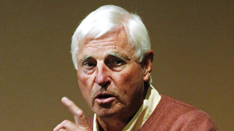 FILE - In this Sept. 14, 2011, file photo, Hall of Famer Bob Knight gestures during a speech at Butler University in Indianapolis. Knight is selling his championship basketball rings and Olympic gold medal. A collection of the former coach's memorabilia will be auctioned through Dec. 5, 2012, by Steiner Sports Memorabilia. (AP Photo/Michael Conroy, File)