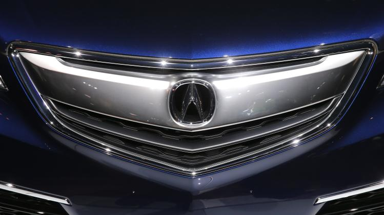 The grill on the 2015 Acura TLX is seen after it was unveiled at the New York International Auto Show in New York City