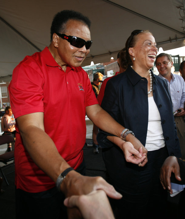 FILE - In this Sept. 17, 2008 file photo, Muhammad Ali and his wife Lonnie shakes hands with guests after a welcoming ceremony for the Ryder Cup golf tournament in Louisville, Ky. The three-time heavy