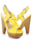 Amiclubwear yellow slingback open-toe wedges, $12.99.