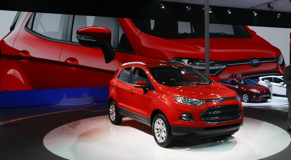 The new Ford ECO Sport is displayed at the Beijing International Auto Exhibition in Beijing, China, Monday, April 23, 2012.  (AP Photo/ Vincent Thian)