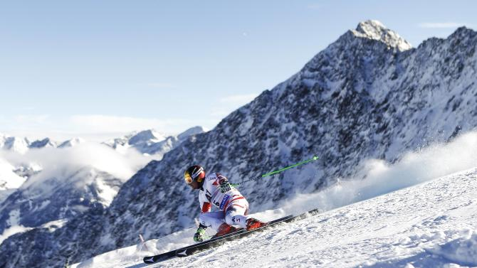 Hirscher of Austria speeds down the course during the first run of the World Cup Soelden Men's Giant Slalom race on the Rettenbach glacier in the Tyrolean ski resort of Soelden
