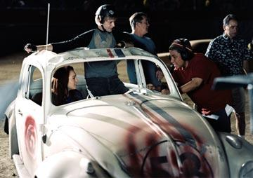 Lindsay Lohan , Jimmi Simpson and director Angela Robinson in Walt Disney Pictures' Herbie: Fully Loaded