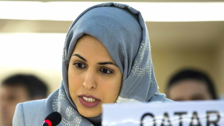 Alya Ahmed Saif Al-Thani, Ambassador of the Permanent Representative Mission of Qatar to Geneva, speaks during the 23rd session of the Human Rights Council, at the European headquarters of the United Nations in Geneva, Switzerland, Monday, May 27, 2013. The Unites States, Qatar and Turkey have asked the U.N.'s top human rights body to hold an urgent debate on the ways to end the civil war in Syria, and to hold accountable those responsible for killing thousands of civilians.  Syria's Ambassador Faysal Khabbaz Hamoui objected to Monday's request, saying it comes from nations that support the rebels who have been battling the regime of Syria's President Bashar Assad since March 2011. U.N. Human Rights Council President Remigiusz Henczel says the council will decide Tuesday whether to hold the debate Wednesday.  (AP Photo/Keystone,Salvatore Di Nolfi)