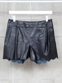 Faux leather scallop shorts