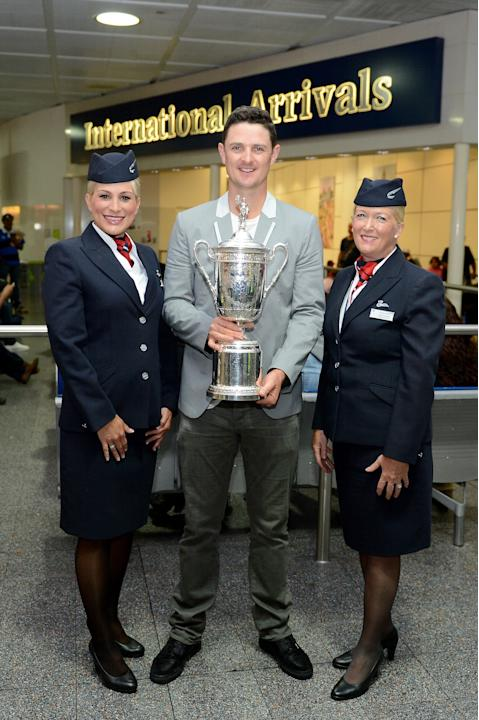US Open Winner Justin Rose Arrives Home At Gatwick Airport