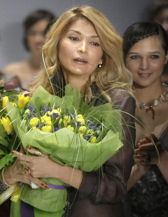 FILE - In this Saturday, April 2, 2011 file photo, Gulnara Karimova photographed just after a display of creations of 'Guli' collections at the Fashion Week in Moscow, Russia. Swiss authoritie