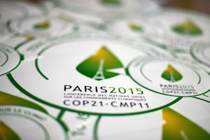 Stickers of the COP21 are seen in Paris, ahead of the …