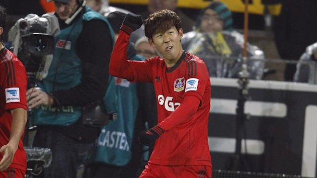 Bayer Leverkusen's Heung Min Son celebrates his goal against Borussia Dortmund (Reuters)