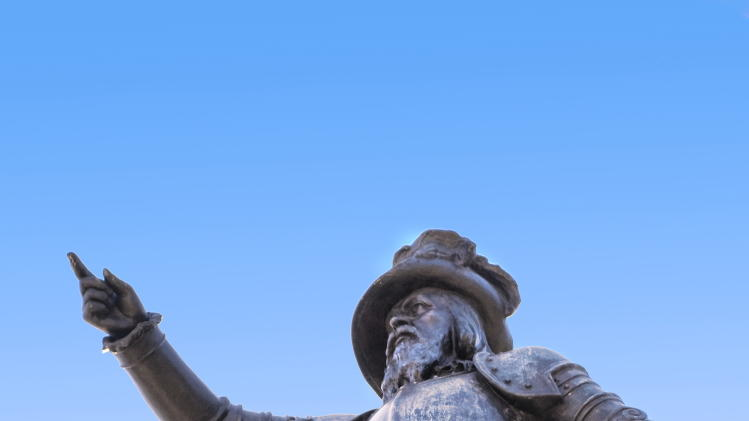 "This undated image provided by the St. Augustine, Ponte Vedra & The Beaches Visitors and Convention Bureau shows a statue of Spanish explorer Ponce de Leon located at the foot of the Bridge of Lions in St. Augustine's Plaza de La Constitucion. On April 2, 2013, St. Augustine will unveil another statue of de Leon located at the exact latitude logged by his ship the day before he claimed ""La Florida"" as a Spanish territory in April 1513. This year Florida is marking 500 years since de Leon's arrival with a series of events related to the state's Spanish heritage and other aspects of its history. (AP Photo/FloridasHistoricCoast.com/ Stacey Sather)"