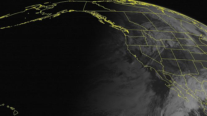 This NOAA satellite image taken Monday, October 15, 2012 at 11:00 AM EDT shows Hurricane Paul south of the Baja Peninsula. Paul is moving towards the north-northeast and has maximum winds of 90 mph. This hurricane is expected to approach the southern tip of the Baja Peninsula in the next 48 hours. In the Pacific Northwest a frontal system is moving in off the Pacific with cloudiness and rain showers. (AP PHOTO/WEATHER UNDERGROUND)