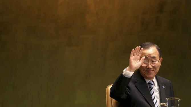 United Nations Secretary-General Ban Ki-moon greets people during the 67th session of the General Assembly at U.N. headquarters Tuesday, Sept. 25, 2012. (AP Photo/Seth Wenig)
