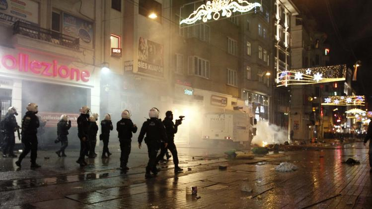 Riot police use water cannons to disperse demonstrators during a protest against internet censorship in Istanbul