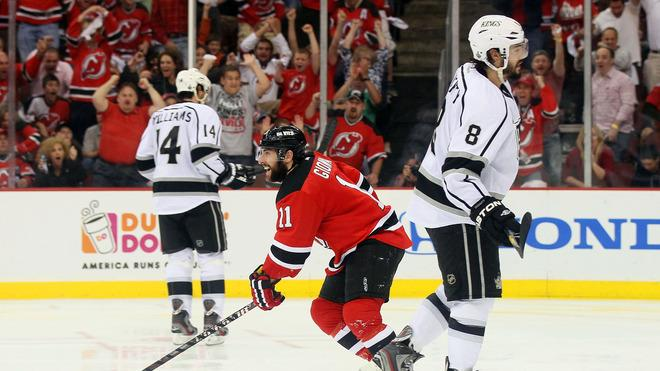 Stephen Gionta #11 Of The New Jersey Devils Reacts  Getty Images