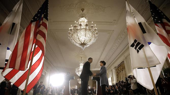 President Barack Obama and South Korea President Park Geun-Hye shake hands at the end of a news conference in the East Room of the White House in Washington, Tuesday, May 7, 2013. (AP Photo/Pablo Martinez Monsivais)