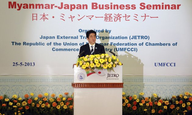 Japan's Prime Minister Shinzo Abe speaks at a Myanmar-Japan business seminar in Yangon