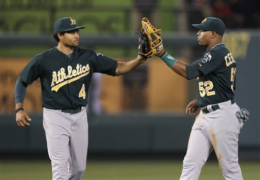 Colon goes 8 scoreless to lead A's over Angels 6-0