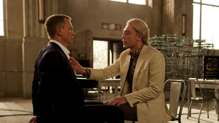 "This film image released by Sony Pictures shows Daniel Craig, left, and Javier Bardem in a scene from the film ""Skyfall."" Bardem portrays, Raoul Silva, one of the finest arch-enemies in the 50-year history of Bond films. (AP Photo/Sony Pictures, Francois Duhamel)"