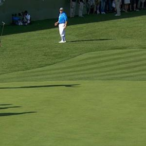 Dustin Johnson buries a 22-footer for birdie at AT&T Pebble Beach