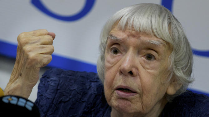 """Russian human rights activist Lyudmila Alexeyeva speaks at a news conference in Moscow, Thursday, Sept. 27, 2012. Russian non-government organizations say they will ignore a new Kremlin law obliging those of them that receive funding from abroad to register as """"foreign agents."""" Lyudmila Alexeyeva, a Soviet-era dissident who heads the Moscow Helsinki Group said Thursday that Russian rights activists have """"survived the Soviet power and .. will survive this."""" (AP Photo/Ivan Sekretarev)"""