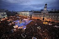 A general view of the Puerta del Sol square in Madrid during a protest against Spain&#39;s economic crisis in May 2011. A year after taking Spain&#39;s streets and squares and sparking a global uprising against economic injustice, the &quot;indignants&quot; are plotting a comeback