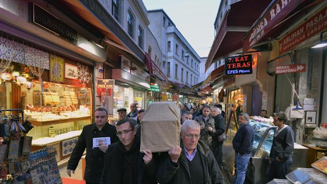 People carry the casket of murdered New York woman Sarai Sierra from the Surp Yerrortutyun church to an ambulances in Istanbul, Turkey, Wednesday, Feb. 6, 2013. Sierra, a 33-year-old mother of two, went missing while vacationing alone in Istanbul. Her body was discovered late Saturday amid the city historical walls. Her body is expected to be sent back home, New York, on Thursday. (AP Photo )