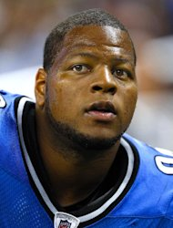 FILE - This Aug. 12, 2011, file photo shows Detroit Lions' Ndamukong Suh during an NFL football game against the Cincinnati Bengals, in Detroit. Suh has been fined $20,000 by the NFL for a hit on Cincinnati quarterback Andy Dalton. (AP Photo/Rick Osentoski, File)