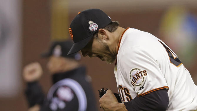 San Francisco Giants starting pitcher Madison Bumgarner reacts after the San Francisco Giants hit into a double play during the seventh inning of Game 2 of baseball's World Series Thursday, Oct. 25, 2012, in San Francisco. (AP Photo/Marcio Jose Sanchez)