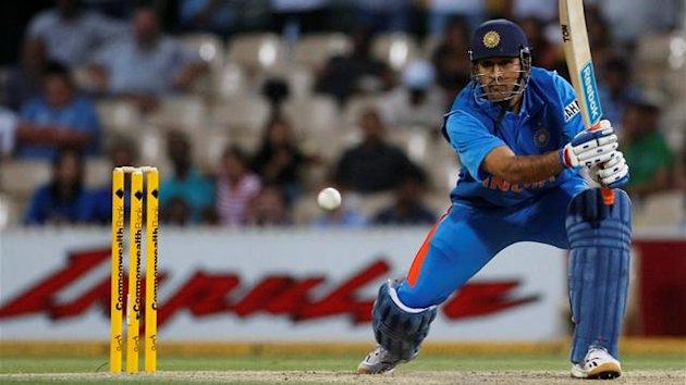 MS Dhoni of India plays a shot against Sri Lanka during their one-day international cricket match in Adelaide