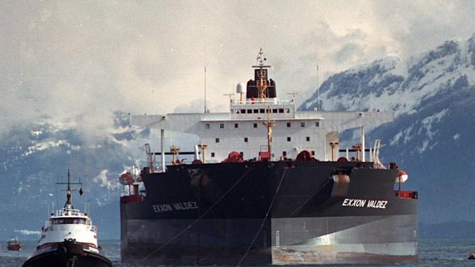 FILE - Tugboats pull the crippled tanker Exxon Valdez towards Naked Island in Prince William Sound, Alaska, seen in this April 5, 1989, file photo after the ship was pulled from Bligh Reef. Best Oasis', an Indian company that dismantles old ships, official Gaurav Mehta says his company recently bought the Exxon Valdez, but he declined to say from whom or at what price. He said Friday March 23, 2012 that the vessel is most likely headed for the scrap yard. (AP Photo/Rob Stapleton, File)