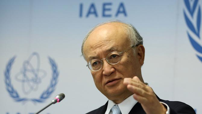 FILE - In this Tuesday, Aug. 25, 2015, file photo, Director General of the International Atomic Energy Agency, IAEA, Yukiya Amano, of Japan, addresses the media during a news conference after a meeting of the IAEA board of governors at the International Center in Vienna, Austria. Amano pushed back on Thursday, Sept. 24, against critics questioning the wisdom of letting Iranian experts take samples meant to help determine whether their own country clandestinely worked in the past on atomic arms, saying he is convinced the process was faultless. (AP Photo/Ronald Zak, File)