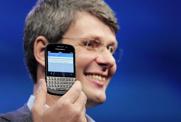 Thorsten Heins, CEO of Research in Motion, introduces the BlackBerry Z10, Wednesday, Jan. 30, 2013 in New York. The maker of the BlackBerry smartphone is promising a speedy browser, a superb typing experience and the ability to keep work and personal identities separate on the same phone, the fruit of a crucial, long-overdue makeover for the Canadian company. (AP Photo/Mark Lennihan)
