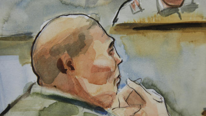 In this detail from a courtroom sketch, U.S. Army Staff Sgt. Robert Bales, is shown, Tuesday, Nov. 13, 2012 on the final day of a his preliminary hearing at Joint Base Lewis McChord in Washington state. Bales is accused of 16 counts of premeditated murder and six counts of attempted murder for a pre-dawn attack on two villages in Kandahar Province in Afghanistan in March, 2012. (AP Photo/Lois Silver)