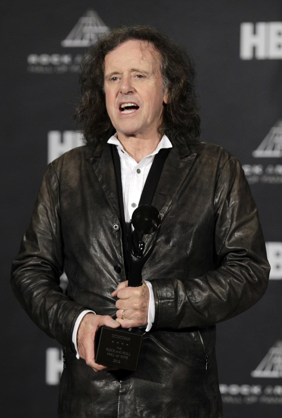 Donovan Leitch appears in the press room after induction into the Rock and Roll Hall of Fame  Rock and Roll Hall of Fame Friday, April 13, 2012, in Cleveland. (AP Photo/Amy Sancetta)