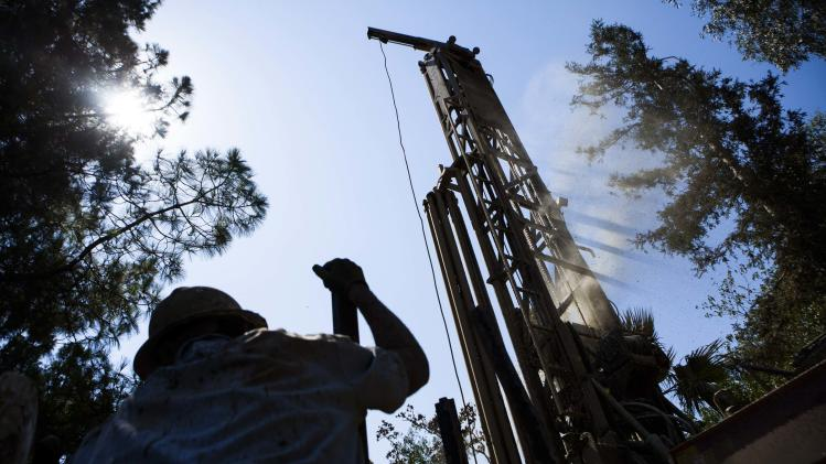Diamond Well Drillers work to deepen the Brady family well in Woodland, California