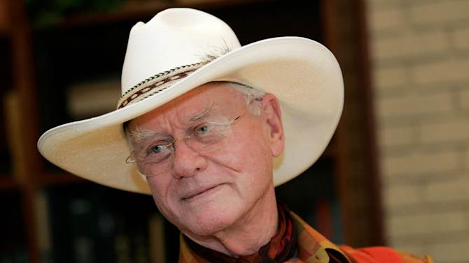 "In this Thursday, Oct. 9, 2008 photo, actor Larry Hagman listens to a reporter's question while visiting the Southfork Ranch in Parker, Texas, made famous in the television show ""Dallas."" Actor Larry Hagman, who for more than a decade played villainous patriarch JR Ewing in the TV soap Dallas, has died at the age of 81, his family said Saturday Nov. 24, 2012(AP Photo/Tony Gutierrez)"