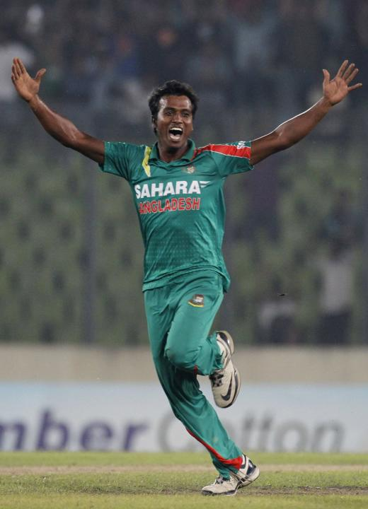 Bangladesh's Hossain celebrates as he dismissed New Zealand's Brendon McCullum successfully during their first one-day international cricket match in Dhaka