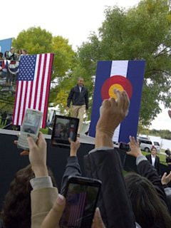 Obama holds a rally in Denver on Oct. 4, 2012. (Linda Jackson)