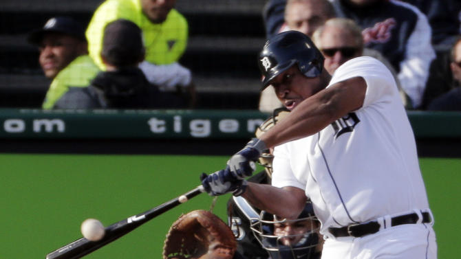 Detroit Tigers' Delmon Young hits an RBI single in the first inning during Game 4 of the American League championship series against the New York Yankees Thursday, Oct. 18, 2012, in Detroit. (AP Photo/Charlie Riedel)