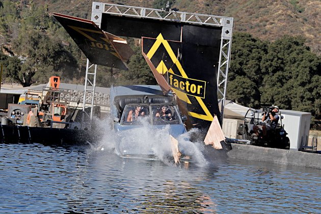 "Car launch into water as seen on ""Fear Factor."""