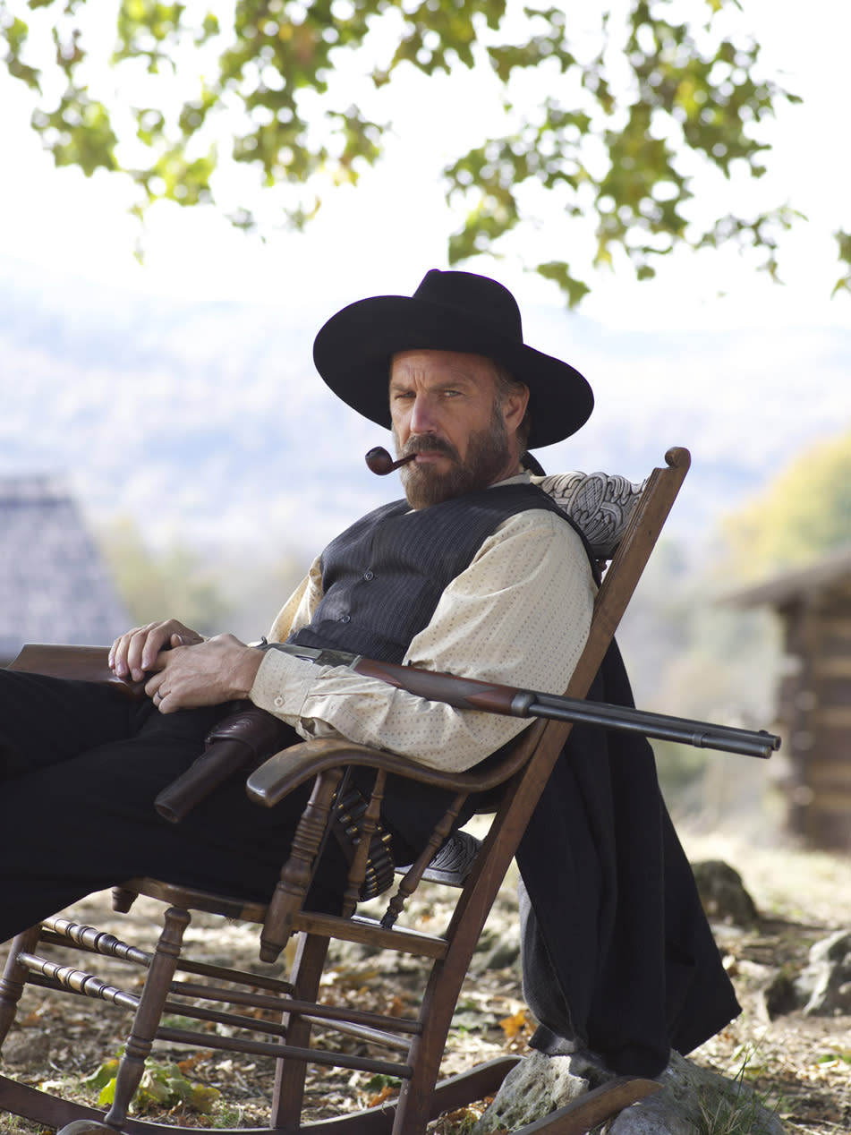 "This undated image released by History shows Kevin Costner portraying Devil Anse Hatfield from the History network's miniseries ""Hatfields & McCoys.""  (AP Photo/History, Kevin Lynch)"